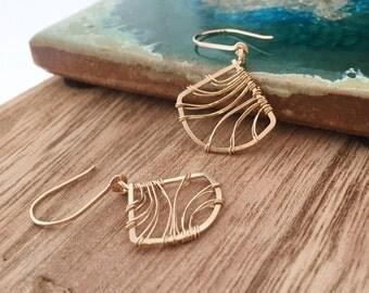 Gold Filled Fan Earrings. Wire Wrapped. E408GF  wire jewelry by cristysjewlery on etsy