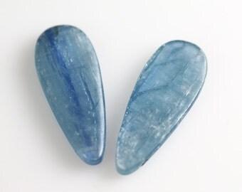 Blue Kyanite Beads - Briolette Pair - Kyanite Beads - 30mm
