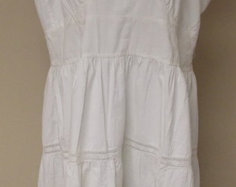 Vintage home made off white cotton full slip crocheted flared