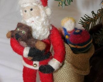 Santa, Needle Felted Santa Figurine with bag, Needle Felted Santa Claus #1006