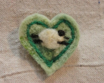 Needle Felted  Green Sheep Heart Pin   #1361