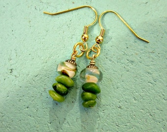 Gold Dangle Earrings with Dichroic Glass and Green Stone Chips: Inchworm