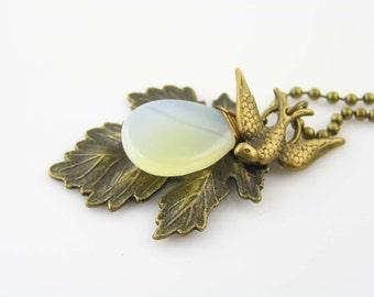 Bohemian Leaf Necklace with Smooth Onyx Drop and Bird Charm, Boho Necklace, Bird Jewelry, Leaf Jewelry, Nature Jewelry