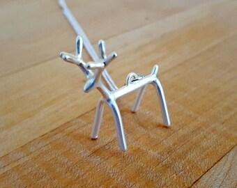 Reindeer Necklace, Matte Silver Deer Necklace, Antler Necklace