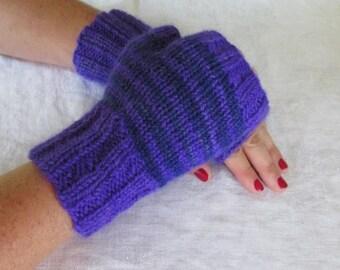 Hand Knit Adult Women's Fingerless Mittens Medium Made In Maine