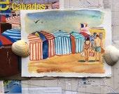 Original watercolor of Trouville beach cabana. (#8)