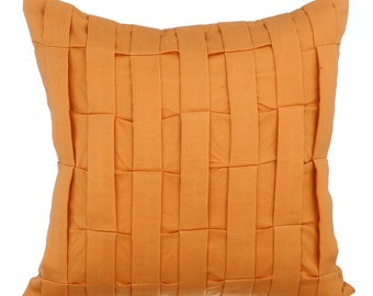 Orange Decorative Couch Sofa Cushion Covers 16 x 16 Pillow Covers Orange Suede Textured Pillows Orange Love Tune