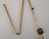 Phoenix necklace. Enameled blue necklace.