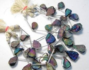 Summer Sale Small Size Mystic Druzy Briolette Beads, Radiant Mystic Rainbow Titanium Druzy Pear Shape,