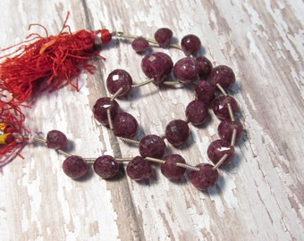 Natural Ruby Onion Briolette Beads , 7mm 8mm 10mm 12mm Onion Briolettes, 9 1/2 Inches
