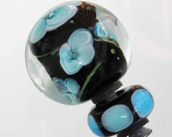 Cabinet Knobs Drawer Pulls - Handmade Venetian Glass - for Furniture, Kitchen and Baths, Black with Aqua Flowers, Lampwork Technique