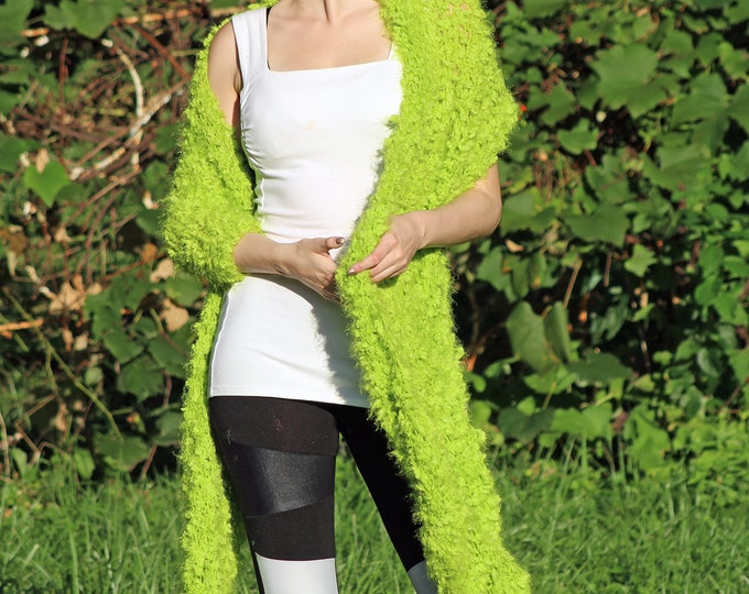 Green One Sleeved Fuzzy Shawl Unique Asymmetrical Top Sweater Women chic jacket