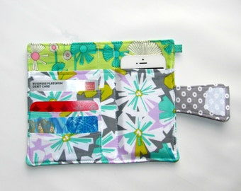 Cellphone,iPhone or iPod Wallet, Cellphone Case, Business Card organizer, Loyalty card wallet ,Gift Card Holder Daisy Aqua- Ready to Ship