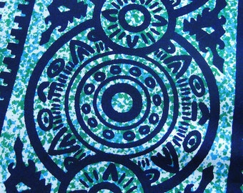 Vintage Cotton Fabric - Mexican-inspired Geometric Print in Aqua and Navy - Vintage Yardage