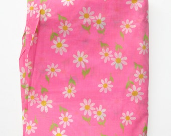1960s Vintage Bright Daisy Print Floral Fabric - Hot Pink Kelly Green Yellow and White - Vintage Cotton Yardage - Mid Century Fabric