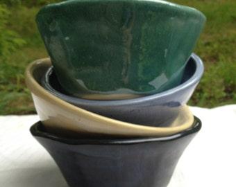 Hand thrown stoneware ice cream cereal dessert bowls
