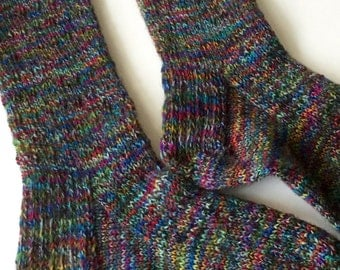 Handknit Woman's Multi-Colored Soft Wool Socks
