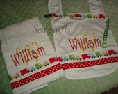 William Personalized Bib Burp and Universal Pacifier Clip Set-Name and/or up to 3 initials