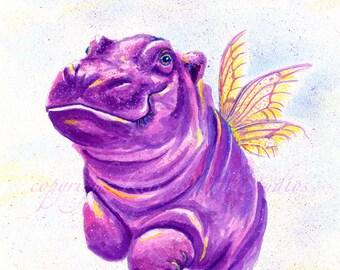 Happy Flying Hippo 8x10 Print