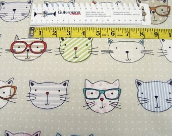 Clarke & Clarke • Cat with glasses • Canvas Cotton Fabric 002610