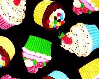 Cupcakes Kitsch Multicolored On Black Cotton Fabric