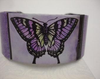 Butterfly Bracelet Decoupage Cuff Bracelet butterfly bracelet monarch butterfly purple butterfly