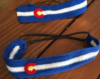 Colorado flag headband, elastic back