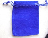 GIFT, BAGS, VELVET, Royal, Blue, 10 bags, Sapphire, Wedding, Shower, Jewelry, Draw String , 3-3/4  x 2-3/4 Inch, I