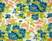 Rose Bouquet in Carrot Rayon Challis Fabric by the Yard