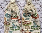 Cat Kitchen Towel Set of Two Crochet Top Towels with Ivory Tops