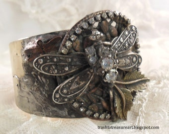 Dragonfly Mixed Metal Cuff Bracelet