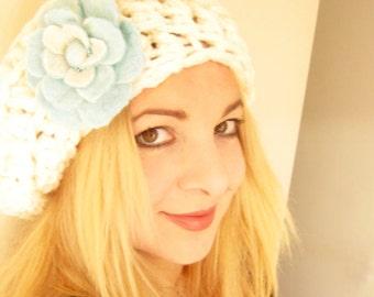 Chunky Crochet Beret Hat -Felt Flower Brooch-Hand Felted with Merino Wool in Ice Blue