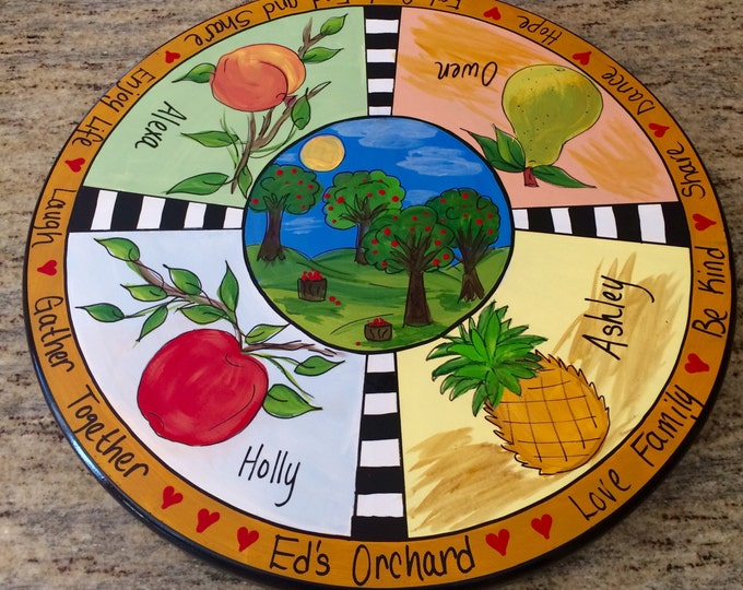 Whimsical painted lazy Susan // Custom painted lazy Susan // custom lazy Susan