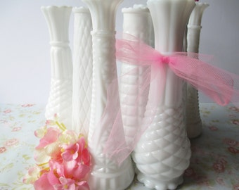 Milk Glass Bud Vase Collection of Nine - Vintage Weddings Bridal