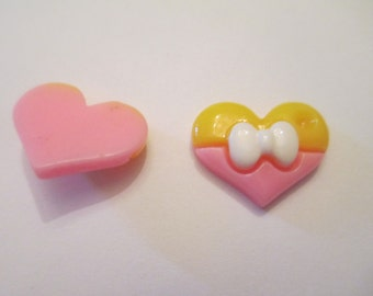 10 Pink and Yellow Resin Heart Flat Back Buttons Scrapbooking Craft Supplies