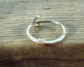 Cartilage Hoop Earring Gold Hammered Gold  Wrap SINGLE - Gold Hoop Earring, Single Hoop Earring, Mens Hoop Earring, Seamless Hoop Earring