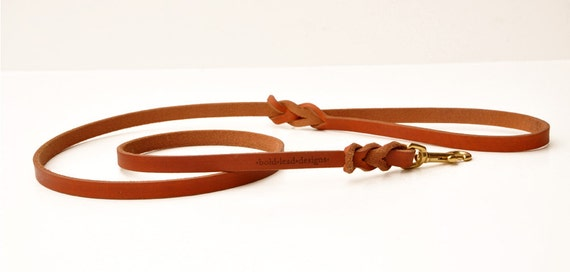 4 foot long Traditional Lead: Premium Leather Dog Leash in TAN--your choice of width sizes--