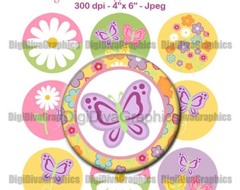 Butterfly Springtime Bottle Cap Images 1 Inch Circles Digital JPG - Instant Download - BC1064