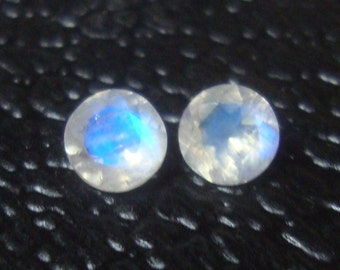 Rainbow Moonstone faceted  5mm loose gemstone - very nice quality - gemstone ONE piece round 5mm faceted rainbow moonstone
