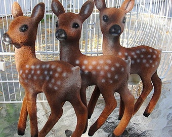 VINTAGE Flocked Felt Baby Reindeer---THREE---Brown With White Spots--Good Vintage Collectible