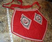 Vintage Deep Red Dutch Girl Theme Apron - EXCELLENT Condition