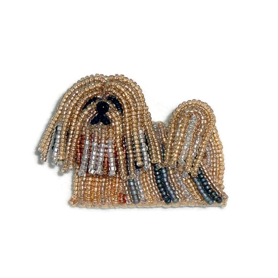 Beading kit lhasa apso dog brooch bead embroidery beaded