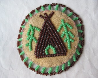 Teepee Patch Seed Bead Scout Brown Tan Green Kerchief Holder Vintage