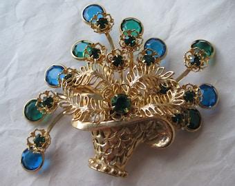 Flower Basket Blue Green Rhinestone Brooch Gold Vintage Pin