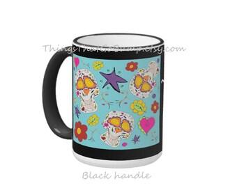 Custom Skull mug personalized mugs choose your size Day of the dead sugar skull mug hearts flowers groovy kawaii skulls coffee mug tea mug