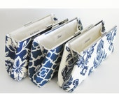 Bridesmaids Clutches Wedding Bridal - Blue and White - Set of 3 - FREE Custom Silk Labels