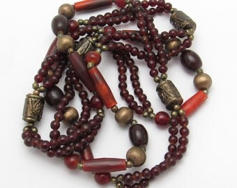 Long Red Bead Necklace Vintage Jewelry N7369