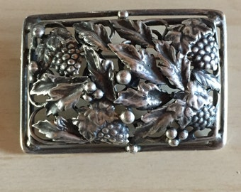 Sterling Victorian Grapes Botanical Brooch