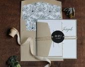 Modern Invitation, Rustic Wedding Invitation, Modern Floral Invitation, Grey and Brown Wedding Invitation - SAMPLE