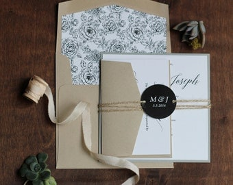 Rustic Wedding Invitation, Modern Invitation, Rustic Wedding, Floral Envelope Liner - DEPOSIT